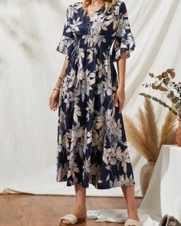 Casual Flowers Print V-Neck Short Sleeve Dress