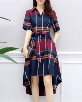 Grid Stripe tunic Bandage Midi Dress