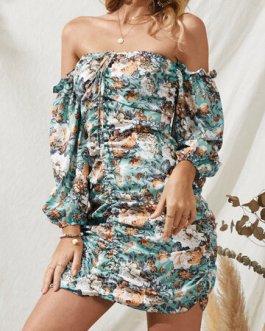 Sexy Bohemian Print Strapless Dress