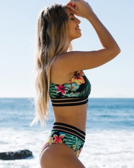 Sexy Flower And Leaf Print High Waisted Swimsuit