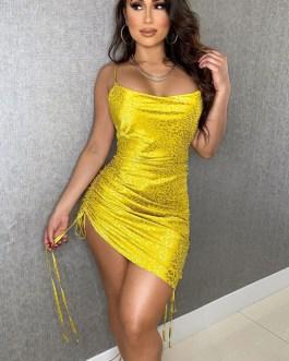 Sleeveless Piping Casual Straps Neck Asymmetrical Sheath Bodycon Dresses