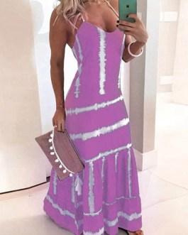 Sleeveless V-Neck Polyester Long Maxi Dress