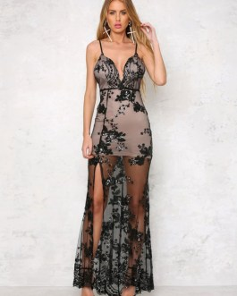 Split Front Polyester Backless Pageant Evening Party Dress
