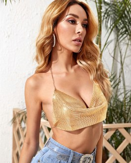 V-Neck Sequins Sleeveless Backless Sequined Sexy Top