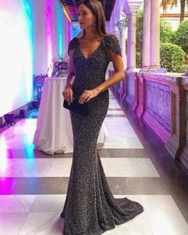 V-Neck Short Sleeves Maxi Mermaid Formal Party Dresses