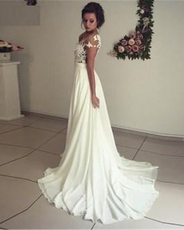 A-Line Side Split Appliques Lace Chiffon Boho Wedding Bridal Gown