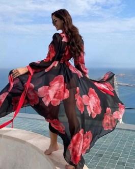 Sexy Floral Boho Print Self Belted Bikini Cover Ups