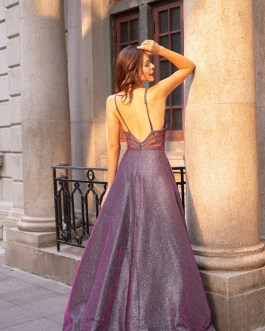 Sexy V Neck Back Elegant A Line Formal Party Reflective Dress
