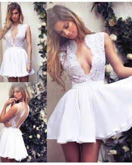 Appliques Lace Top Mini Wedding Bridal Gowns