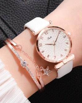 Casual Leather Flowers Quartz Bracelet And Wrist Watch Set