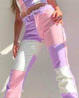 Casual Patchwork High Waist Slim Streetwear Straight Pants