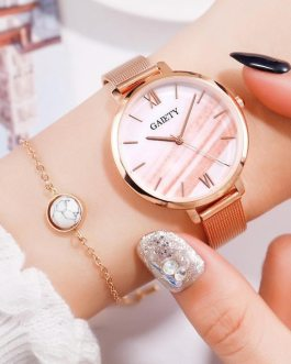 Casual Quartz Water Drill Bracelet and Wrist Watch Set