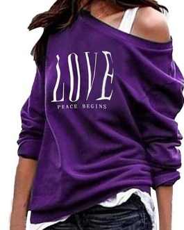 Casual Sexy One Off Shoulder Love Letter Print Sweatshirt