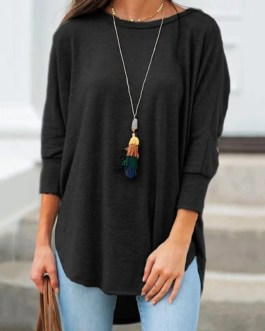 Casual Solid Color 3/4 Sleeve O Neck Loose T-shirt