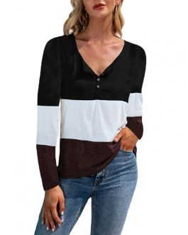 Casual Splicing Contrast Colors Stripe Sweatshirt