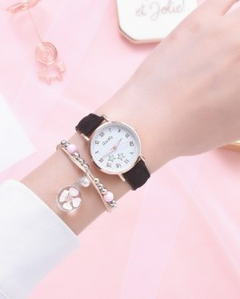 Casual Star Pattern Leather Bracelet and Wrist Watch Set