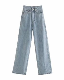 Casual Zipper Fly Wide Leg Street Wear Cowboy Pants