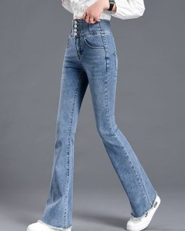 Daily Casual Stretch Full Length High Waist Jeans