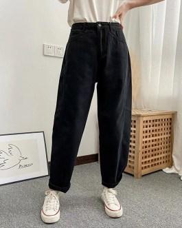 Fashion High Waist Loose Pockets Solid Cargo Pants