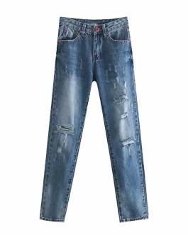 Fashion Ripped Zipper Fly Street Wear Pencil  Jeans