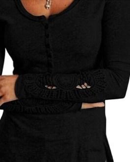 Fashion Sexy Long Sleeve Cotton Shirt Lace T-shirts