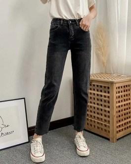 Fashion Zipper Fly Stretchy High Waist Long Jeans
