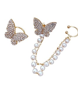 Full Rhinestone Butterfly Pearl Tassel Earring