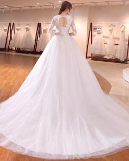 Half sleeve with long tail brides formal plus size lace up vestidos de noivas wedding dresses