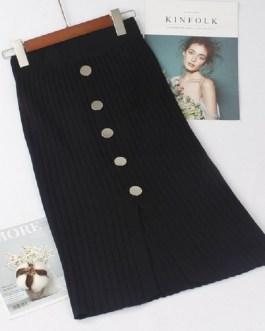 High Waist Knitted Button Warm Rib Skirts