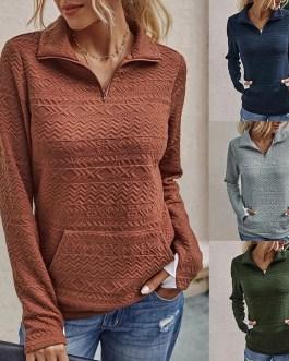Half Zipper High Collar Sweatshirts