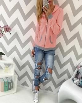 Hoodies Long Sleeve Patchwork Casual Pockets Sweatshirts