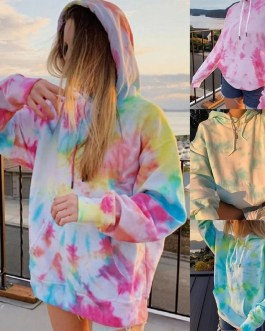 Hoodies Tie Dye Print Pocket Casual Hooded Sweatshirts