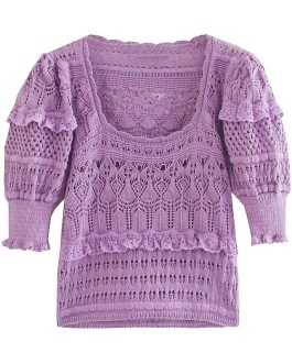 Knitted Sweater Chic Square Collar Puff Short Sleeve Tops