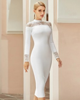 Lace Sexy Hollow Out Evening Runway Bodycon Bandage Dress