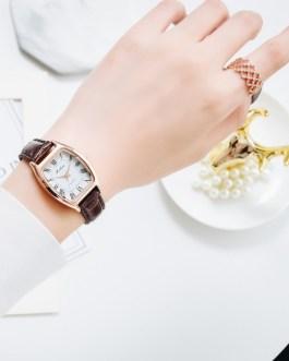 Leather Strap Oval Quartz Clock Wrist Watch