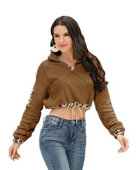 Leopard Print Drawstring Stand Collar Sweatshirt Top