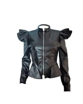Long Sleeve Zipper Ruffle Shrug Motorcycle Jackets