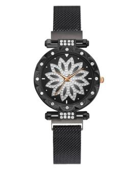 Mesh Magnet Buckle Flower Luxury Rhinestone Quartz Watch
