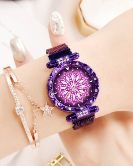 Mesh Magnet Buckle Flower Luxury Rhinestone Quartz Watch Bracelet Set