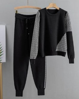 O Neck Pullover + Knitted Long Harem Pants Set Sweater