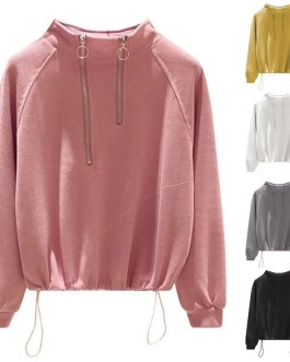 Pullovers Drawstring Stand Collar Hoodies Sweatshirts