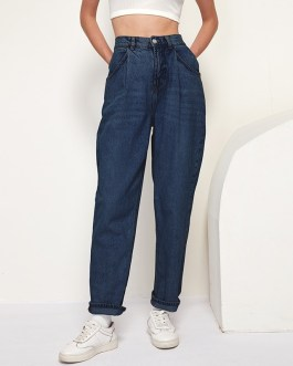 Retro Solid Full Length Pleated Loose Trousers