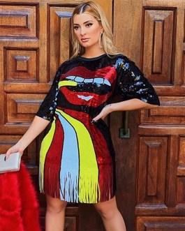 Sequin Half Sleeve Lip Print Tassel Tunic Mini Streetwear Dress