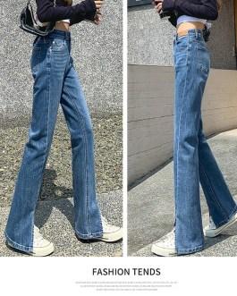 Sexy Thin Split High Waist Draping Jeans