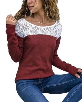 Solid Color Lace Patchwork Round Neck T-Shirt