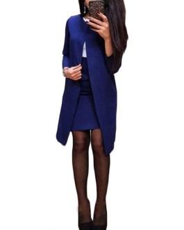 Solid Color Long Blazer Jacket Bodycon Mini Skirts 2 Piece Set