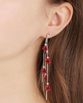 Style Rose Petals Long Tassel Pendant Earrings