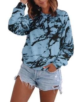 Tie Dye Long Sleeve O Neck Pullovers Sweatshirt