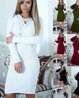 V-Neck Long Sleeve Knit Bodycon Sweater Mini Dress