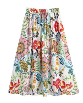 Casual A Line Vintage Floral Printed Midi Skirts